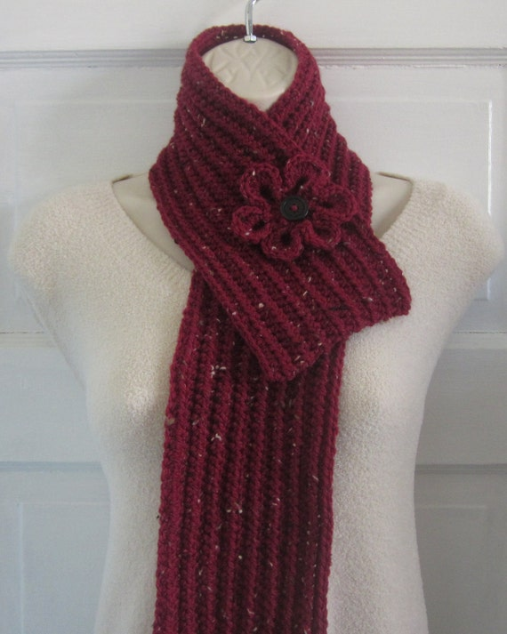 Ruby Red Crochet Scarf - Womens Neckwarmer with Flower - Ladies Tweed Scarflette - Winter Fashion Accessories