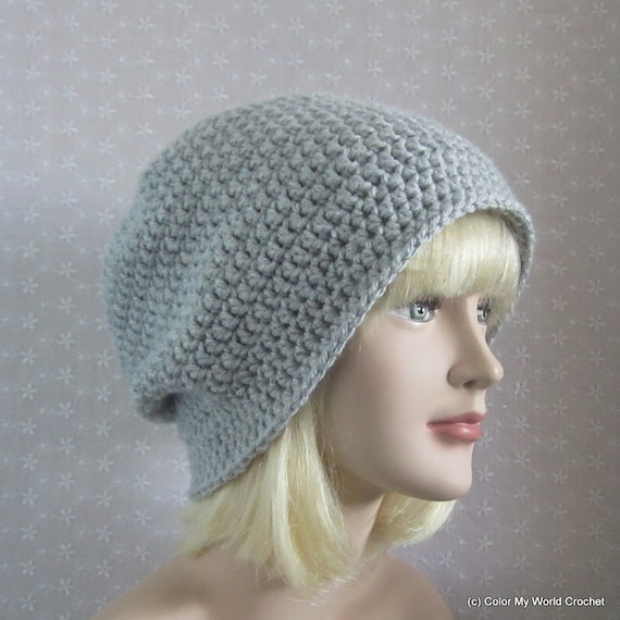 Gray Slouchy Crochet Hat - Womens Slouch Beanie - Oversized Silver Cap - Fall Fashion Accessories
