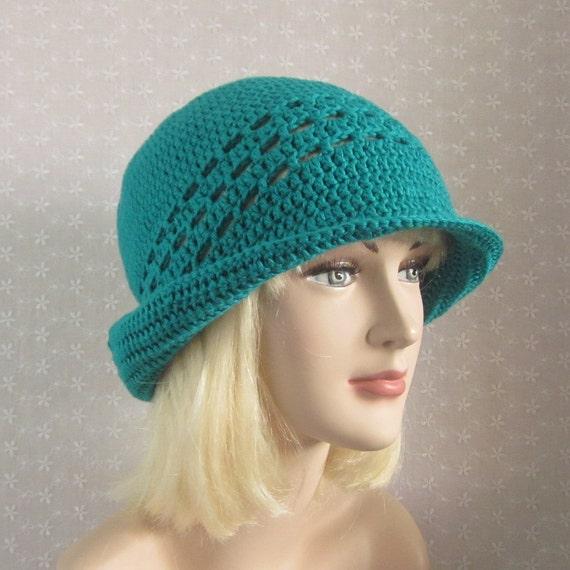blue green crochet hat womens cloche flapper hat