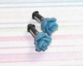 8g (3mm) Flower Plugs for Gauged Ears - Blue