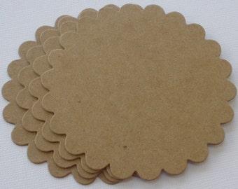 "MEDiUM SCALLOP Circle - Chipboard Die Cuts - Bare Unfinished Circles Diecuts - 3 3/8"""