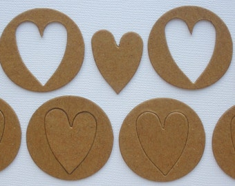 MiNi HEART CHARMS & OUTLiNES - CHiPBOARD Bare Die Cuts - 1.5""
