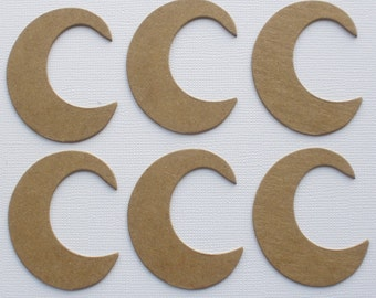 "CRESCENT MOON - Bare Unfinished CHiPBOARD Die Cuts - Halloween Diecuts - 2"" inch tall"