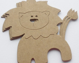 3 Circus LION - Raw CHiPBOARD Animal Bare Die Cuts