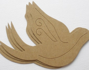 4 DOVE -  Raw CHiPBOARD Bird Bare Die Cuts