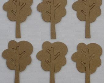 6 MiNi Tree's -  Raw Bare Tree Unfinished Chipboard Die Cut