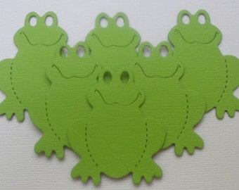 "6  GREEN FROGS - Animal Frog Toad - CHiPBOARD Embellished Die Cuts - - - - 2"" inch Tall"