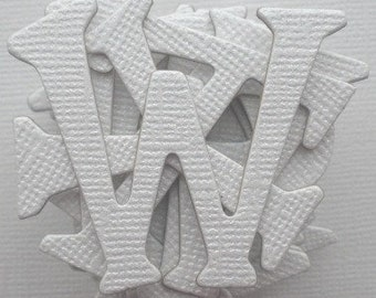 "WHiTE Shimmer -  Chipboard Alphabet Letters Die cuts - 1.5"" tall"