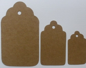 SCALLOP TAG Chipboard Die Cuts  -- 3 Graduated Sizes -  Bare Diecuts Hang Tag, Gift Tags