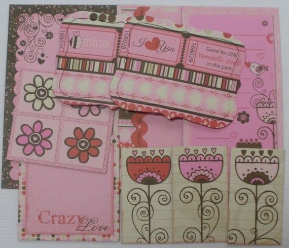 CRAZY LOVE Journal Cards: Chipboard Die Cuts - Journaling Spots / Quotes / Picture Cards - 10 Piece Embellishment Kit