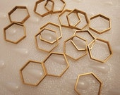 12 pieces of vintage cut raw brass tube outline charm in hexagon shape geometric art deco 15 x17.5 x 2.5mm