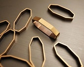 15 pieces of vintage old stock cut raw brass tube outline charm in small rhombus shape 3d deco 15.5mm long