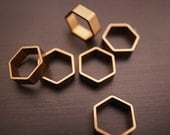 back in stock 35 pieces of small cut raw brass tube outline charm in hexagon 7.5 x 8.5 x 2.5 mm wide