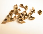 20 pieces of vintage old stock cut raw brass tube tiny rhombus 8x3x13mm