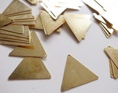 50 raw brass die cut triangle stamping charm thin brass tag 17.5mm each side