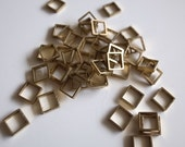 30 pieces of newly made cut raw brass tube outline charm in tiny square box geometric shape 3d cube 5.5 x 5.5x1.2mm
