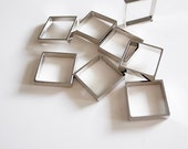 12 pieces of  cut raw brass tube outline charm in square box geometric shape 3d cube with new plating in steel color 12.5 x12.5 x2.5 mm