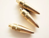 3 reproduced solid raw brass bullet charm heavy weigh 32x8 mm larger and smaller size available