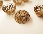 10 pieces of vintage raw brass filigree design bead cap with hole 21mm across