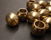 12 pieces of  vintage raw brass tube bead  cylinder barrel shape about 10mm heavy