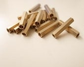20 pieces of  newly made solid raw brass long hexagon tube bead 20 x 4 mm with hole through