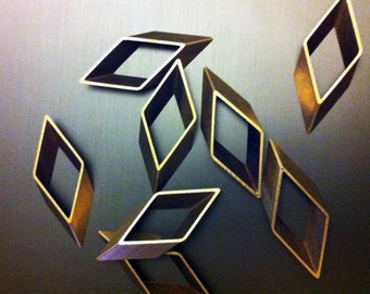 8 pieces of newly made cut raw brass tube outline charm in rhombus geometric shape 17X5X43MM