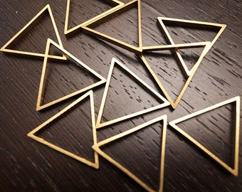 20 pieces of cut raw brass tube outline charm in triangle geometric shape deco 25 mm each side