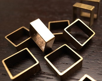 12 pieces of vintage cut raw brass tube outline charm in square box geometric shape 3d cube 12.5 x 12.5 x 5mm
