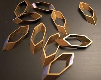 12 pcs - small long hexagon geometric shape 9x3x25.5mm