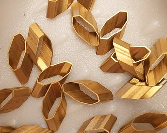 5 pieces of vintage old stock cut raw brass tube outline charm in round geometric shape 3d