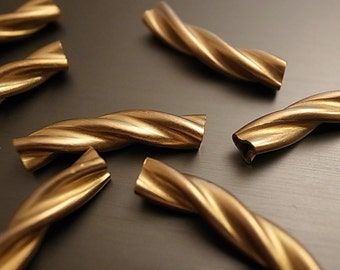 30 pieces of vintage old stock cut raw brass twisted swirl tube 22 mm long perfect necklace pendant