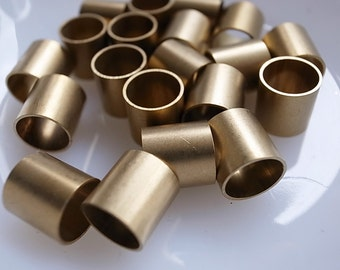 12 pieces of vintage cut raw brass tube cylinder shape bead cap pendant 10 x 10 mm