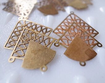 12 Vintage raw brass coper finding for chandelier earrings or necklace with rope and triangle design