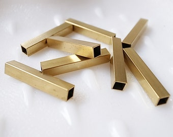 8 pieces of newly made raw brass tube square shape bead cap 30 mm long cube rod polished