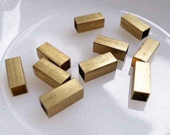 24 pieces of vintage cut raw brass tube square shape bead cap 12 mm long cube