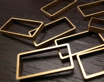 5 pieces of new cut  thick slice raw brass tube outline charm in rectangular geometric shape 30x15x3.5mm
