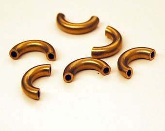 6 pieces of vintage thick cut raw brass tube round curve perfect for pendant macaroni heavy