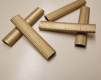 6 pieces of vintage old stock cut raw brass tube checker texture pattern 3x8x40mm
