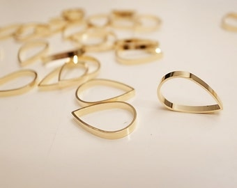 10 pieces of newly plated cut raw brass tube outline charm in teardrop shape with new plating in gold tone  16x2mm