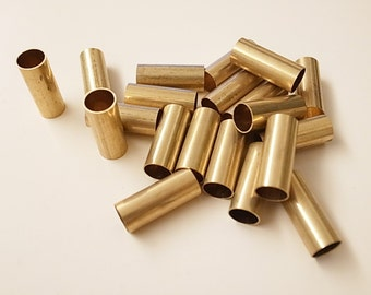 12 pcs of vintage cut raw brass tube straight cylinder shape bead cap pendant 0.3 x 8 x 20mm