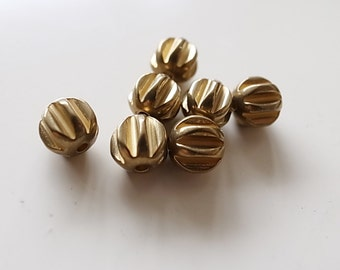 25 pieces of vintage solid raw brass bead charm round ball shape with cut hole through about 6mm across