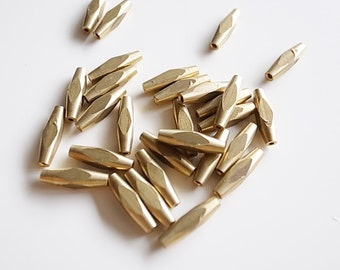 25 pieces of vintage solid raw brass long bead with hole through facet diamond cut 12x3mm