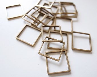 20 pieces of vintage cut raw brass tube outline charm in square box geometric shape 3d 13x13mm