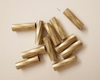 12  vintage cut raw brass tube cylinder shape 6x20mm straight swirl