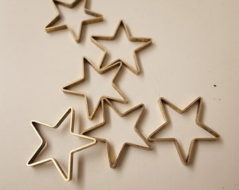 6 pieces of large newly made cut raw brass tube outline charm in star geometric shape deco 25 mm