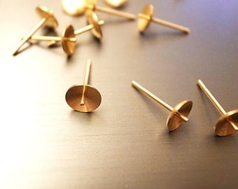 15 vintage raw brass high quality 6mm Ear Stud Bowl with Pin 11mm nice machining finding