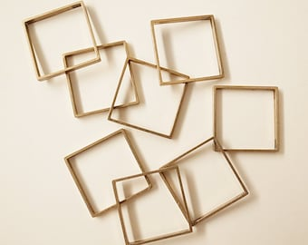 10 pieces of newly made cut raw brass tube outline charm in square box geometric shape 3d 25 x 25 x2.5mm