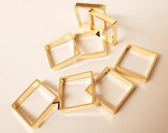 12 pieces of cut raw brass tube outline charm in square box geometric shape 3d cube 12.5 x12.5 x 2.5 mm plated in gold tone