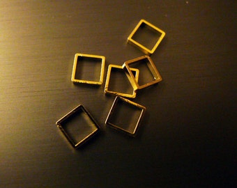 30 pieces of cut raw brass tube outline charm  square 5.5 x 5.5 x 1.2 mm PLATED in gold color