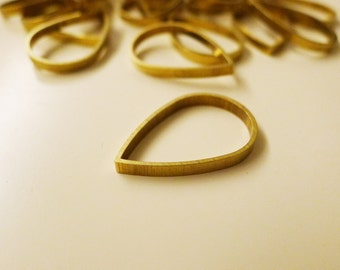 8 pieces of newly made raw brass tube outline charm in teardrop shape in 25x2.5mm dangle thick